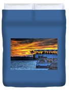 0019 Awe In One Sunset Series At Erie Basin Marina Duvet Cover