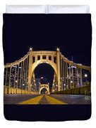 0304 Roberto Clemente Bridge Pittsburgh Duvet Cover by Steve Sturgill