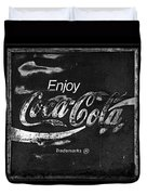 Coca Cola Sign Black And White Duvet Cover