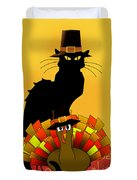 Thanksgiving Le Chat Noir With Turkey Pilgrim Duvet Cover