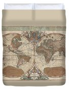1691 Sanson Map Of The World On Hemisphere Projection Duvet Cover
