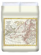 1772 Vaugondy  Diderot Map Of Alaska The Pacific Northwest And The Northwest Passage Duvet Cover