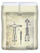 1876 Corkscrew Patent Drawing Duvet Cover