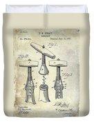 1883 Corkscrew Patent Drawing Duvet Cover