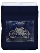 1901 Motorcycle Patent Drawing Blue Duvet Cover
