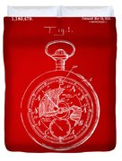 1916 Pocket Watch Patent Red Duvet Cover