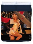 1940s Style Aviator Pin-up Girl Posing Duvet Cover