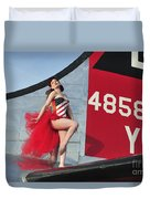 1940s Style Pin-up Girl Standing Duvet Cover by Christian Kieffer