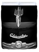 1949 Chrysler Town And Country Convertible Hood Ornament And Emblems Duvet Cover