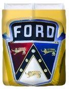 1950 Ford Custom Deluxe Station Wagon Emblem Duvet Cover by Jill Reger