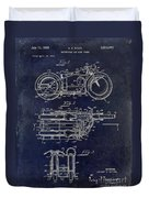 1950 Motorcycle Patent Drawing Blue Duvet Cover