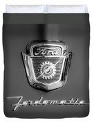 1950's Ford F-100 Fordomatic Pickup Truck Hood Emblems Duvet Cover