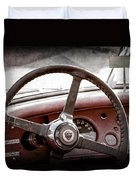1954 Jaguar Xk120 Roadster Steering Wheel Emblem Duvet Cover