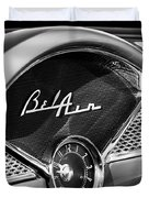 1955 Chevrolet Belair Dashboard Emblem Clock Duvet Cover
