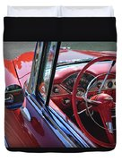 1955 Chevrolet Belair Steering Wheel Duvet Cover