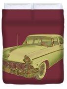 1956 Ford Custom Line Antique Car Pop Art Duvet Cover