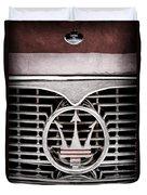 1958 Maserati Hood - Grille Emblem Duvet Cover