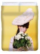 1960s Glamour Woman In White Turn Duvet Cover