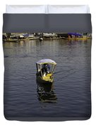 2 Kashmiri Men Heading Towards The Camera In A Small Wooden Boat Duvet Cover