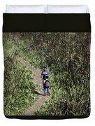 2 Photographers Walking Through Tall Grass Duvet Cover