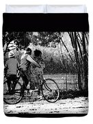 3 Young Children On A Cycle At The Side Of The Road Duvet Cover