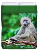 A Baboon In African Bush Duvet Cover