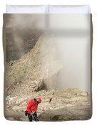 A Climber Descending Longs Peak Duvet Cover