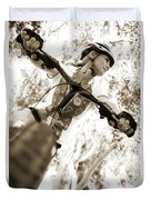 A Female Mountain Biker Duvet Cover