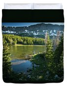 A Fly Fisherman Fishes A High Alpine Duvet Cover