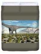 A Herd Of Diplodocus Sauropod Dinosaurs Duvet Cover