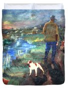 A Man And His Dogs Duvet Cover