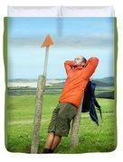 A Man Enjoying A Moment Of Rest Duvet Cover