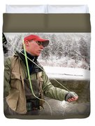 A Man Fly Fishing On The Cache La Duvet Cover