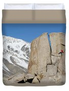 A Man Sport Climbs In Bishop Duvet Cover