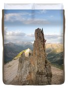 A Man Tops Out A Spire On Treasure Duvet Cover