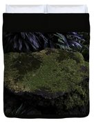A Moss Covered Stone Inside The National Orchid Garden In Singapore Duvet Cover