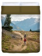 A Mother And Daughter Mountain Biking Duvet Cover