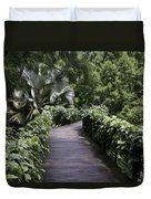 A Raised Walking Path Inside The National Orchid Garden In Singapore Duvet Cover