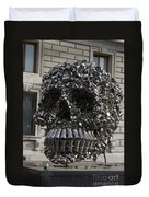 A Skull Sculpture Made Of Cans And Metal Along The Grand Canal Duvet Cover