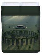 A Ufo & Its Alien Crew Visiting Duvet Cover