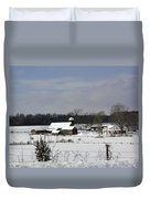 A Wintery View Of A Farm On Goode Street Duvet Cover