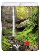 A Woman Admires Latourel Falls On June Duvet Cover