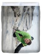A Woman Climbs The Line 5.9 At Lovers Duvet Cover