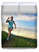 A Woman Trail Running Near Boulder, Co Duvet Cover