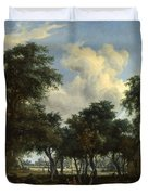 A Woody Landscape With A Cottage Duvet Cover