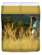 A Young Man Fly-fishing At Sunset Duvet Cover