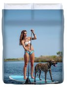 A Young Woman And Her Dog Sup Duvet Cover