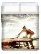 A Young Woman Paddling Hard Duvet Cover