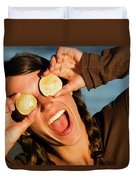 A Young Woman Smiles And Sticks Duvet Cover