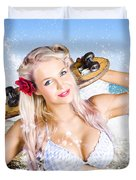 Active Sexy Summer Beach Babe With Skateboard Duvet Cover